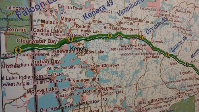 Route of Energy East through the Kenora area.  Photo courtesy of Crystal Greene.